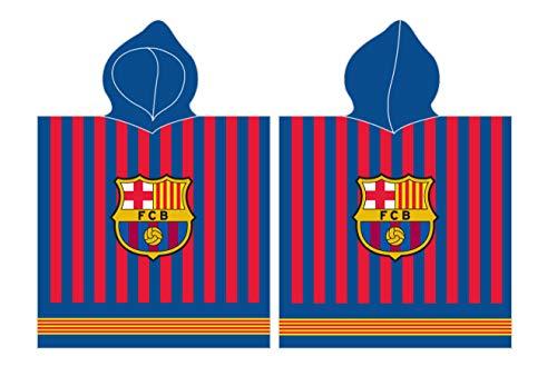 Carbotex FC Barcelona - Toalla de playa poncho con capucha FCB192057 60 x 120 cm