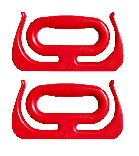 Handzy All-Purpose Handle Grocery Bag Holder, Industrial Bucket Carrier and More Each Handle Holds Up to 100lbs (2 Pack, Red)