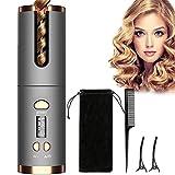 Boucleur Cheveux, LCD Boucleur Automatique, Amself Boucleur Sans Fil, 6 Température Réglable (150°C~200°C),40s Chauffage Rapide