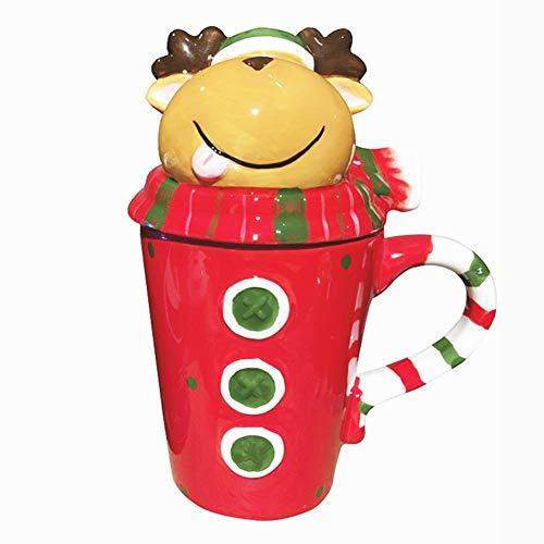 Tazze natalizie 3D con alcia/pupazzo di neve/pinguino/Babbo Natale/Babbo Natale/coperchio/tazza da caffè/latte/tè thermos bottiglia d'acqua regalo di Natale 14 Oz elk