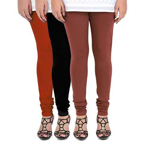 Vami Women's Leggings (Pack of 3) (VM1001_14-PO3_Assorted_Free Size)