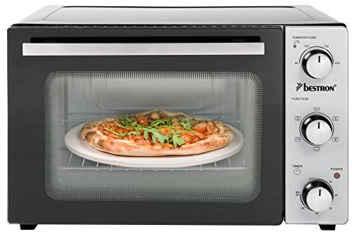 Bestron compacte mini-bakoven met draaispies en pizzasteen 31 liter, 1500 watt, roestvrij staal