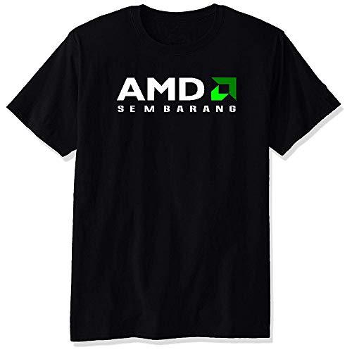 Hombre AMD Logo Black Short Sleeve Camiseta T-Shirt tee Medium