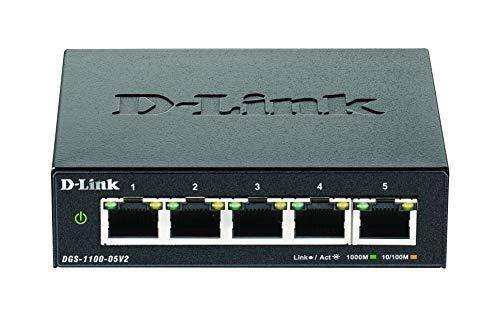 D-Link DGS-1100-05V2, Switch Smart 5 Puertos Gigabit, RJ-45, Gestión Web, Layer 2, VLAN, sobremesa, sin Ventilador, IGMP Snooping, VoIP VLAN, QoS, Seguridad Red, sin Ventilador, Green