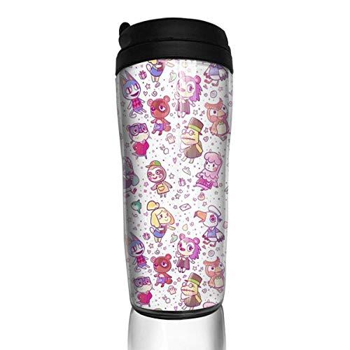 Botella Agua Acero Inoxidable Animal Crossing Pattern ABS Travel Coffee Mugs With Quick Seal Lid Insulated 12 OZ Taza de Viaje, Termo Taza, Frasco de Vacío