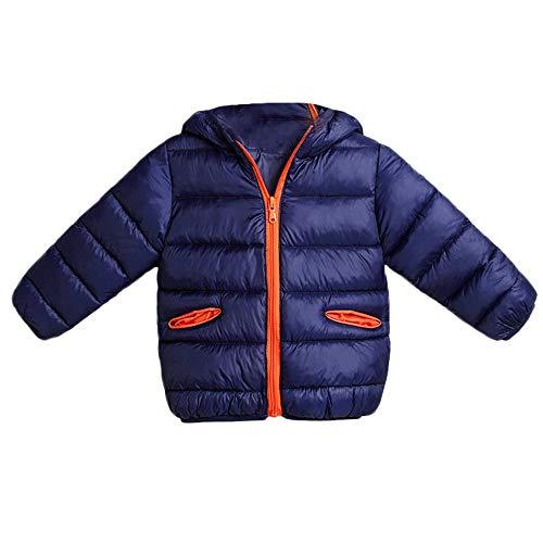 kingko Blouson Manteau Léger Enfant Garçon Fille Doudoune à Capuche - Veste à Manches Longues Sport bébé Ski Vêtement Manteau de Neige Vêtements d'extérieur (18-24M, Marine)