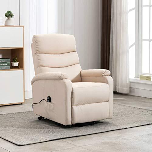 FAMIROSA Sillón reclinable de Tela crema-1245