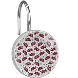 Textura Abstracta de Ladybug Ganchos para Cortinas de Ducha,Anillos para Cortinas de Ducha de Cristal,Juego de 12 Ganchos Decorativos para baño