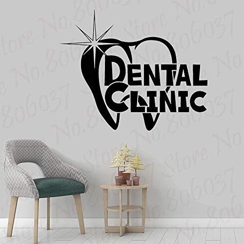 wZUN Clinique Dentaire Logo Sticker Mural décoration dent santé Oral Autocollant dent Vinyle Autocollant Soins dentaires 57X70 cm