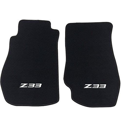 Floor Mat Compatible With 2003-2009 Nissan 350Z Z33 | Logo Factory Fitment Nylon 2PC Black Car Floor Carpets Carpet liner by IKON MOTORSPORTS | ?2004 2005 2006 2007 2008