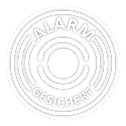 6er Aufkleber-Set Alarm-gesichert, transparent I Ø 4 cm I Achtung Objekt besitzt Alarmanlage I für Fenster-Scheibe, Tür I außen-klebend I hin_366