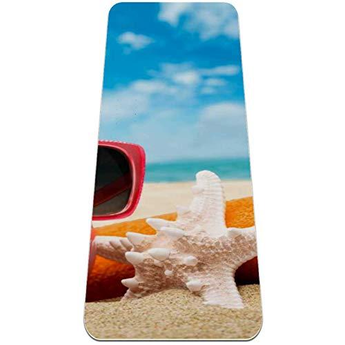 Esterilla Yoga,Cerdo gafas de sol estrella de mar playa ,Esterilla Deporte Antideslizante Ecológica y 100% Natural de,No tóxico,para Pilates,Fitness
