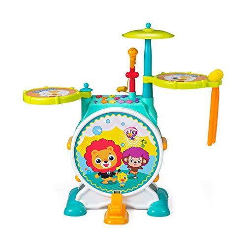 YYQIANG Tambor para niños de más de 2 años de edad, con micrófono, instrumento musical para bebé principiante, regalo para niños (color: azul)