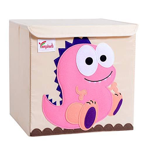Caja de almacenamiento para niños, caja de almacenamiento para niños con tapa, caja de juguetes lavable y plegable, idea para estantes Kallax para el dormitorio de los niños (Pink Dinosaur)