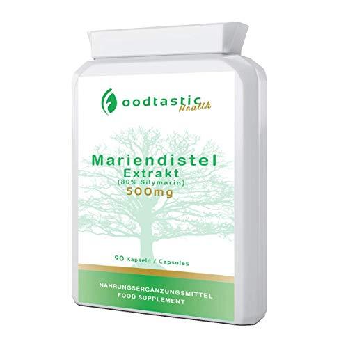 Foodtastic Mariendistel Kapseln hochdosiert [500 mg] 90 Kapseln | 80% Silymarin Anteil aus Mariendistelsamen | 3 Monatsvorrat