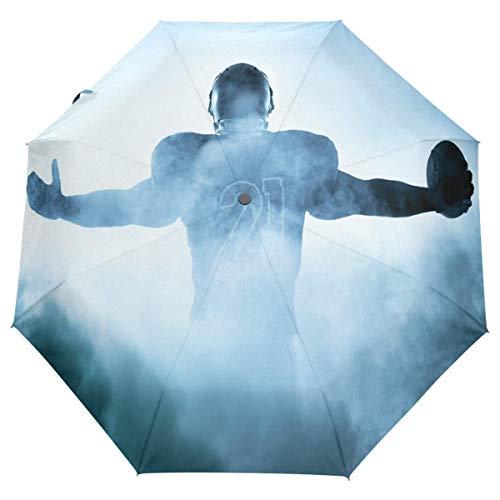 Trushop Paraguas Automático Cool American Football Player Umbrella Traditional Ball Sport Auto Umbrella Open Close Compact Anti-UV Travel Windproof Parasol Umbrellas Sun & Rain