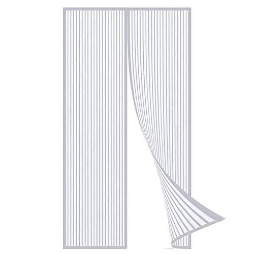 Magnetische vliegengaas, deurgordijn, eenvoudig te monteren, zonder boren, voor balkondeur, terrasdeur, kelderdeur en terrasdeur 80x195cm(31x76inch) wit