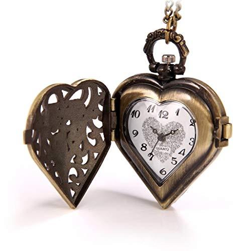 Reloj de Bolsillo Vintage Heart Locket Style Steampunk Pattern Colgante Collar Largo 31.5 Pulgadas con Cadena