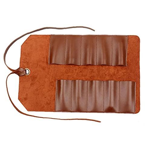 Herramienta rollo de cuero del bolso, la bolsa 10 bolsillos multiusos Organizador Wrap venta Equipo de hardware práctica de la carpintería alicates Llave inglesa marrón claro clásico