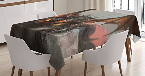 Ambesonne Fantasy World Tablecloth, Illustration of 3 Headed Breathing Dragon Large Monster Gothic Theme, Rectangular Table Cover for Dining Room Kitchen Decor, 60