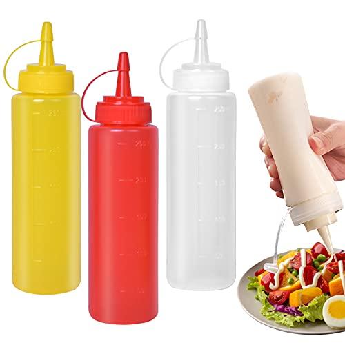 smatime 3 Stück Squeeze Flasche,8oz Plastik Quetschflasche Mit Kappen,Kein Leck Condiment Flaschen für Malen,Backen,Ketchup,scharfe Soße,Olivenöl, Saucenflasche(250ML)