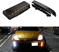 iJDMTOY Smoked Lens Switchback LED Daytime Running Lights Compatible With 03-05 Nissan 350z (Pre-LCI), Direct Fit Dual Color Front Bumper Reflector Replacement Powered by 7 LED Chips Each Lamp