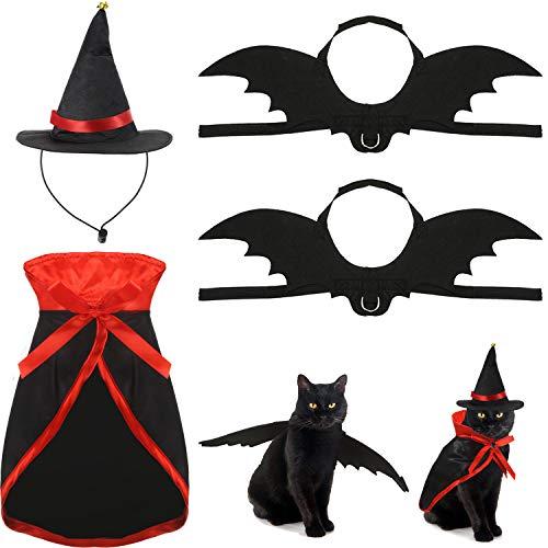 Frienda 4 Pieces Halloween Pet Costume Set Include Halloween Black Cat Bat Vampire Cloak and Wizard Hat Pet Costumes Cat Cosplay for Pet Cat Dog Halloween Costume Accessories