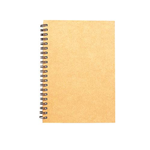 Spiral Sketch Book Large Notebook Kraft Cover Blank Sketch Pad Wirebound Sketching for Drawing Painting 8.5x11-Inch (1 Pack) 200 Pages, 100 Sheets
