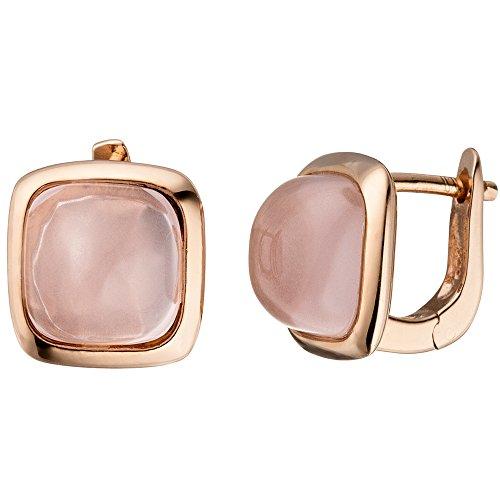 JOBO Creolen 925 Silber rotgold vergoldet 2 rosa Glassteine Ohrringe