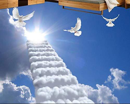 Suelo Vinilico Autoadhesivo Para Suelos Papel Pintado De Murales De Suelo Simple 3D Pintura De Suelo 3D Personalizada, Nubes Blancas, Sol, Dormitorio, Sala De Estar, Suelo 3D, Papeles De Pared De V