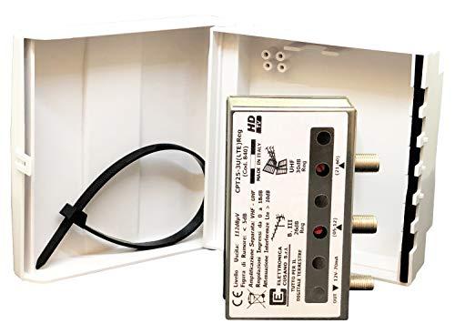 Elettronica Cusano CPT25-3U(LTE)Reg Amplificatore Antenna Tv da Palo con Filtro Lte 4g, Guadagno Max 30dB (Regolabile), Amplificatore Antenna Tv 2 Ingressi: III + UHF, Amplificatore Bande Separate