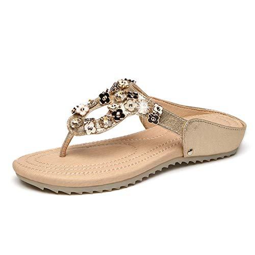 Hzyshoe Frauen Flache Sandalen, Strass Sandalen, Flip Flop, Jeweled Sandalen,40