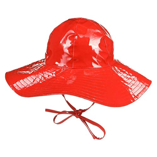 McBURN McBurn Lackhut Floppy Damen - Kinnband Reisehut mit Futter, Frühling-Sommer Herbst-Winter - One Size rot