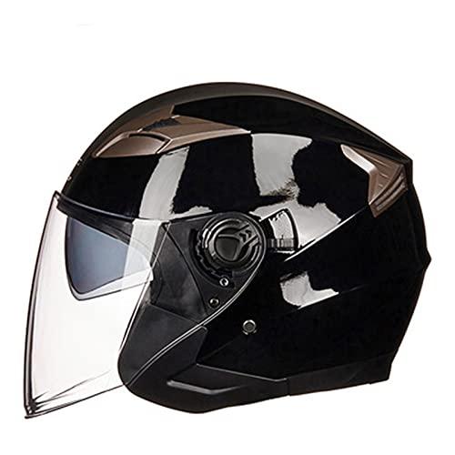 Casco modular para motocicleta, estilo retro, con cara abierta, 3/4, para adultos, hombres, mujeres, verano, moto, scooter, luz de calle, aprobado por DOT/ECE, con doble visera, negro brillante 1, L