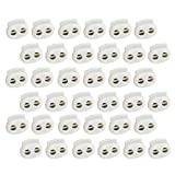 Cyful 30Pcs Spring Loaded Cord Lock, Double Hole Plastic End Spring Stopper, 4mm Hole Dia Fastener Slider Toggles End Perfect for Drawstrings, Bags and Clothing