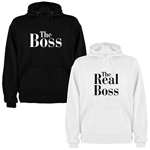 Dalim Pack de 2 Sudaderas para Parejas The Boss y The Real Boss (Mujer Tamaño M + Hombre Tamaño M)