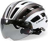 Lixada Mountain Bike Helmet Casco da Motociclismo con Luce Posteriore Staccabile Visiera Magnetica UV Protettiva (Cenere d'Argento)