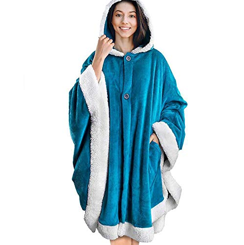 Blanket Jumpers, Warm Lazy Fleece Pijama, Franela con Capucha Bolsillo Albornoz Pullover Sudadera,A6,One Size