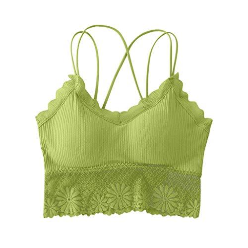 Judeyuan Lace Crop Tops Damen BH Sommer Basic Leibchen Top Tank Top SpaghettiträGer Top Damen