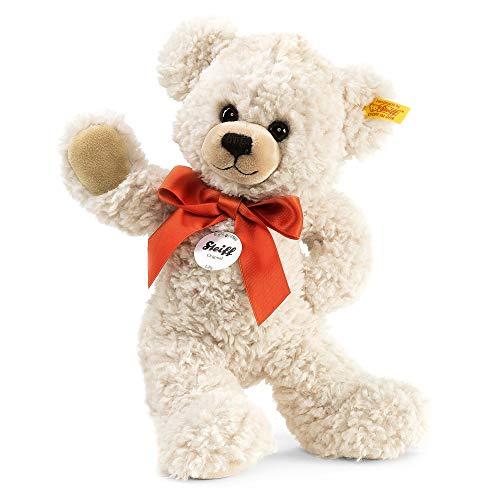 Steiff Lilly Schlenker-Teddybär - 28 cm - Teddybär mit roter Schleife - Kuscheltier für Kinder - weich & waschbar - Creme (111556)