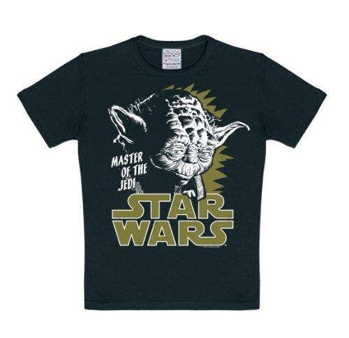 Logoshirt Star Wars - Yoda, Maestro de Jedi Camiseta para niño - Negro - Diseño Original con Licencia, Talla 92/98, 2-3 años