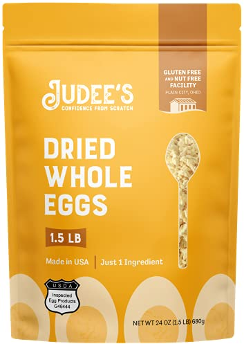 Judee's Whole Egg Powder 1.5lb (24oz) - No Additives, Just One Ingredient, Pasteurized - Great for Baking and Cooking - 100% Non-GMO, Gluten-Free & Nut-Free - Great for Camping & Outdoor Preparation - Made from UEP Certified Eggs - High Protein and Vitamin Source - Made in USA
