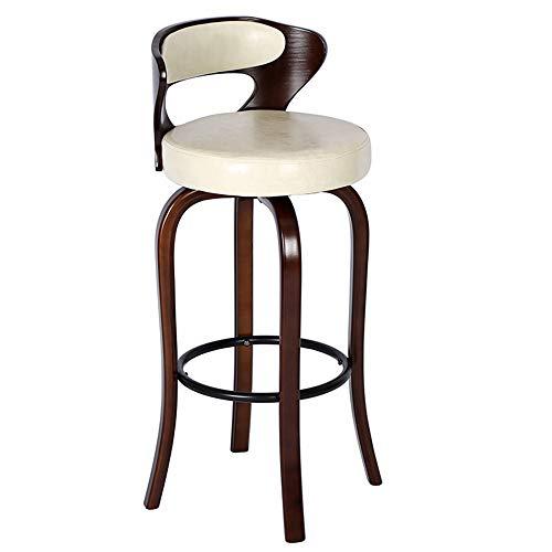 GDHY Vintage Sgabelli Bar Rotondo Sedie Alti da Pranzo con Schienale Sgabello da Bar in Legno Massello Seduta Imbottita Seggiole, Marrone/Grigio