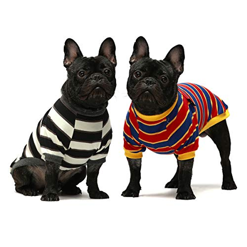 Fitwarm 2-Pack 100% Cotton Striped Dog Shirt for Pet Clothes Puppy T-Shirts Cat Tee Breathable Stretchy Black-White Yellow Blue Beagle French Bulldog Schnauzer XL