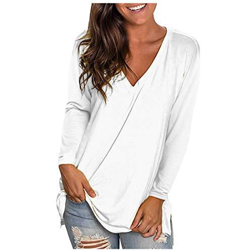 Zytyeu Women T-Shirt Women Blouse Sexy V-Neck Elegant Comfortable Oversize Simple Long-Sleeve Women T-Shirt Autumn All-Match Fashion Design Chic Loose Women Top White. S