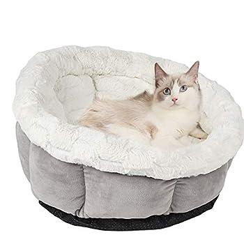 Vejaoo Lit de Chat Sommeil Profond Chat Canapé Doux et Confortable Animal de Compagnie pour L'Hiver XZ031 (Grey)