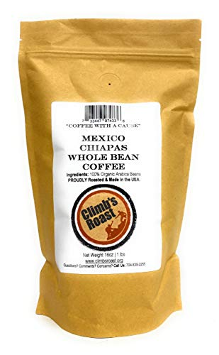 Climb's Roast Gourmet Whole Roasted Coffee Beans, 1 Pound, Mexican Chiapas