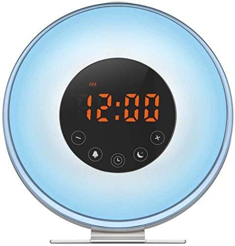 Clock Leuke wekker wake-up licht met zonsopgang analoge leuke wekker en zonsondergang analoog slaaplicht nachtlicht hoorradio verstelbare nachtlamp groen