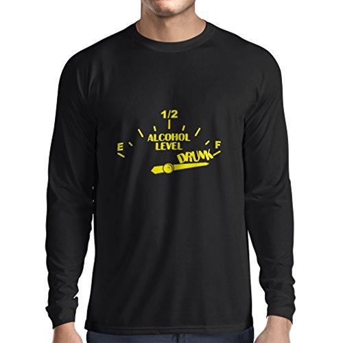 Camiseta de Manga Larga para Hombre Otra Bebida por Favor - Ropa de Fiesta, Citas Divertidas de Alcohol (Large Negro Amarillo)