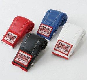 パンチンググローブ (高級レザー) 赤 Lサイズ キックボクシング空手用 GLOBAL SPORTS グローバルスポーツ
